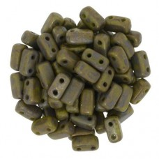 Opaque Olive Copper Picasso 2-Hole Brick Bead - 3 x 6mm - Pack of 50