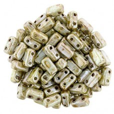 Opaque Ultra Luster Green 2-Hole Brick Bead - 3 x 6mm - Pack of 50