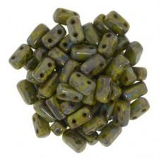 Picasso Opaque Olive 2-Hole Brick Bead - 3 x 6mm - Pack of 50