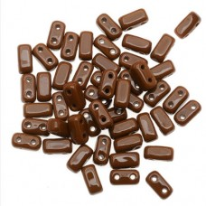 Umber 2-Hole Brick Bead - 3 x 6mm - Pack of 50