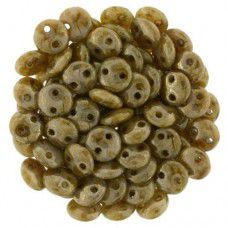 Beige Brown Picasso 2-Hole 6mm Lentil Beads - Strand of 50 Beads