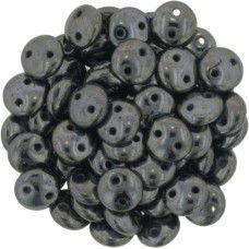 Hematite 2-Hole 6mm Lentil Beads - Strand of 50 Beads
