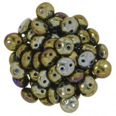 Iris Brown 2-Hole 6mm Lentil Beads - Strand of 50 Beads