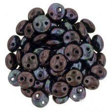 Luster Metallic Amethyst 2-Hole 6mm Lentil Beads - Strand of 50 Beads