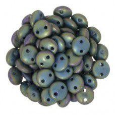 Matte Iris Green 2-Hole 6mm Lentil Beads - Strand of 50 Beads