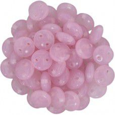 Milky Pink - 2-Hole 6mm Lentil Beads - Strand of 50 Beads
