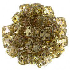 Bulk Bag Luster - Transparent Gold / Smoke Topaz 6mm Quadratile - 100gm bag