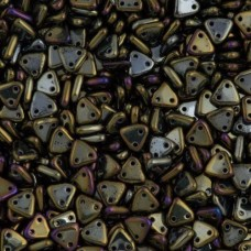 Iris Brown Czechmate Triangle Beads, approx 8g