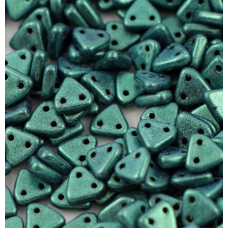 Dark Green Czechmate Triangle Beads, approx 8g