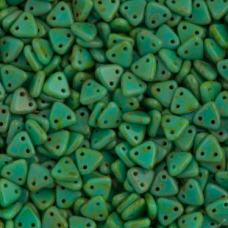 Bulk Bag Opaque Turquoise Picasso Czechmate Triangle Beads, approx 100g