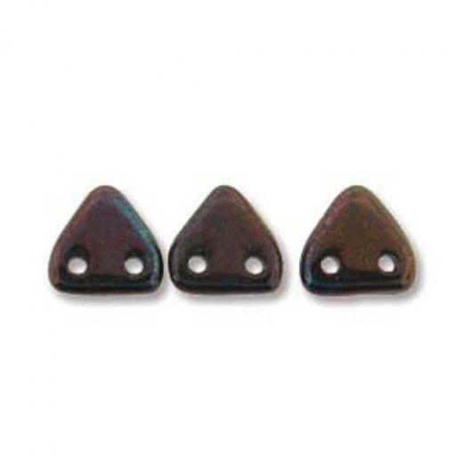 Bulk Bag Persian Turquoise Bronze Czechmate Triangle Beads, approx 100g