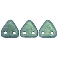 Polychrome Light Green Czechmate Triangle Beads, approx 8g