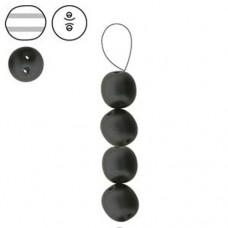Double Hole Dobble Beads, Matte Black, 20 Beads