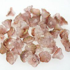 Crystal Rose Luster 5x7mm Flower Cup Beads, approx. 50