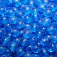 6mm Round Indian Glass Beads, Blue, Pack of 10