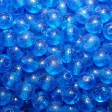 6mm Blue Round Indian Glass Beads, Pack of 10