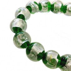 Green Foiled Glass Beads, Strand of 13