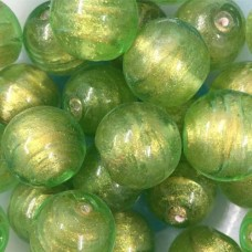 18mm Lime Green Foiled Glass Bead