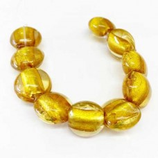 Oval 10mm Foiled Glass Beads, Gold, Strand of 10