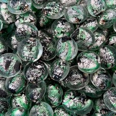 Patterned Silver Foil Discs, 12x10mm, Green, 10 Pack