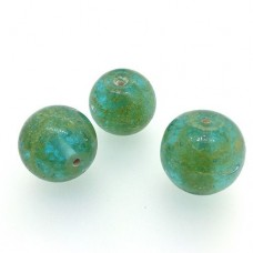 18mm Pale Green Foiled Glass Beads, Pack of 2