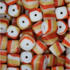 Glazed 9mm Cubes, Orange & Tan, Wholesale Bag, Approx 250gr.