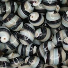Glazed 12 x 18mm Ovals, Black, Wholesale Bag, Approx 250gr.