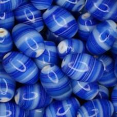 Glazed 12 x 18mm Ovals, Blue, Wholesale Bag, Approx 250gr.