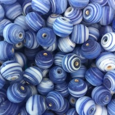 Matte Glass Swirls, 10mm Round, Blue, Pack of 10