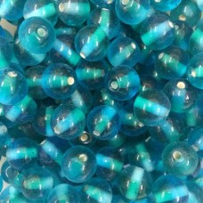 Aqua Two Tone Glass Beads, Pack of 10