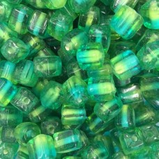 Two Tone Glass Cubes, Green, Pack of 10 Beads.