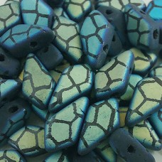 2 Hole Kite Beads, Jet AB Laser Cracked Matte, Approx 10 Grams