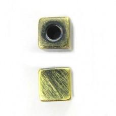 8mm Brushed Satin Brass Cube Large Hole Bead