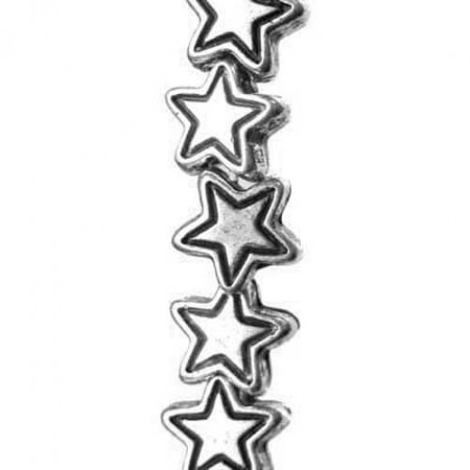 6mm Star Bead Antique Silver Beads, pack of 33 Beads
