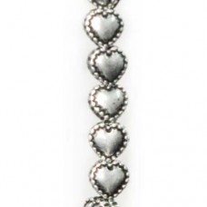 5mm Beaded Edged Heart Antique Silver Beads, Strand of 32