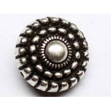 18mm Round Wheel Patterned Antique Silver Bead