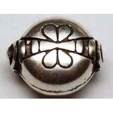 12mm Bug  patterned Antique Silver Bead, BU07, pack of 3