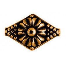 22mm Flat Designed Diamond Bead, Antique Copper Plated