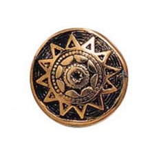 18mm Flat Designed Aztec Sun Bead, Antique Copper Plated, pack of 4