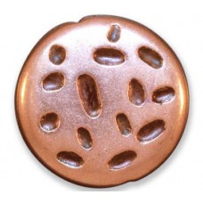 29mm Flat Textured Circle Bead, Antique Copper Plated