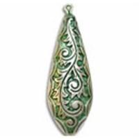 51x18 Tear Drop Pendant Green Patina Bead