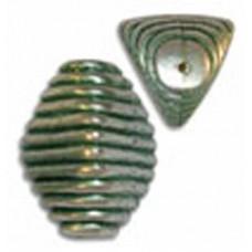 24x20mm Ribbed Green Patina Bead