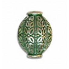 22x17mm Round Urn Shaped Green Patina Bead
