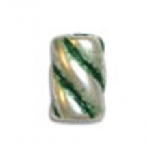 9x11mm Barber Pole Bead, Green Patina Silver , pack of 6