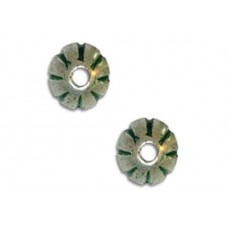 7x8mm Fluted Rondel Green Patina Bead, pack of 2