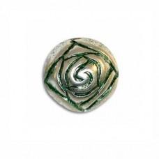 9mm Rosebud Green Patina Bead, pack of 5