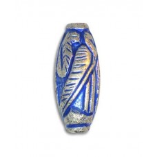 20x10mm Large Hole Carved Fancy Oval Blue Denim Bead