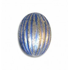 7x6mm Ribbed Oval Bead, Blue Patina Silver