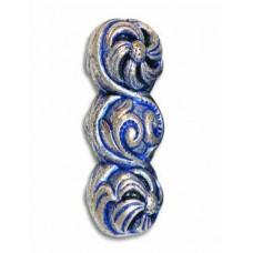 25x12mm Scrolled Blue Denim Bead