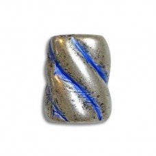 9x11mm Barber Pole Bead, Blue Denim Silver, pack of 5